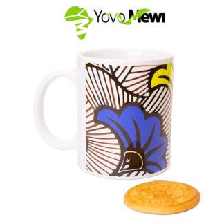 Mug wax fleurs de mariage /jaune et bleu/ mug céramique/ mug sublimation