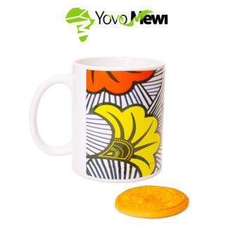 Mug wax fleurs de mariage /jaune et rouge/ mug céramique/ mug sublimation
