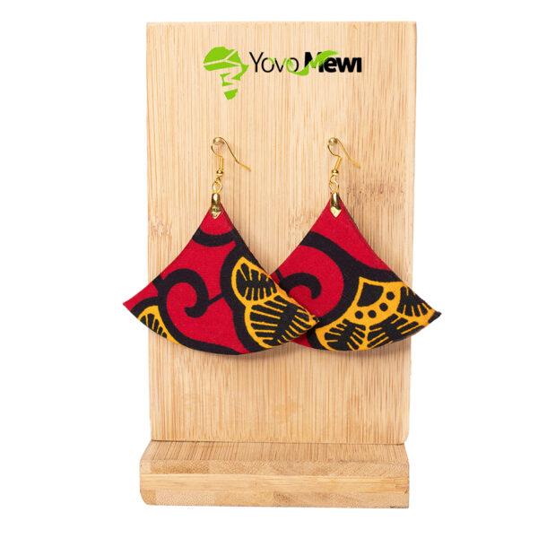 Boucle d'oreilles wax balance, rouge et jaune  / Hauteur: 6 cm/ n.85