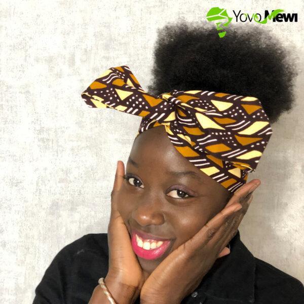 Turban Headband rigide en wax / accessoire cheveux / wax bogolan /duo boucles d'oreilles /n°18