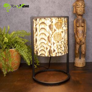 ampe tissu wax /déco moderne / lampe métal /lampe cheval/ beige et noir