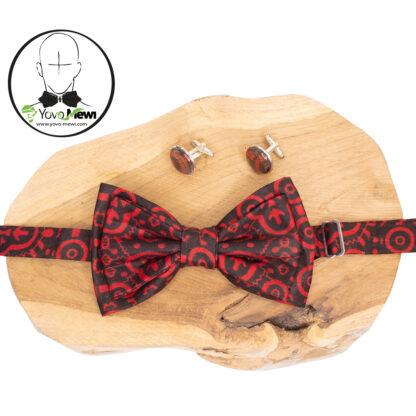 Ensembles Nœud papillon wax + Boutons de manchettes/cérémonie/ mariage/rouge noir n.11