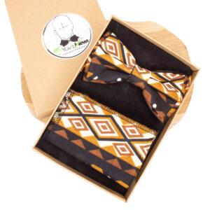 Coffret Nœud papillon wax Bogolan+ Pochette de costume+ boutons de manchette n°2
