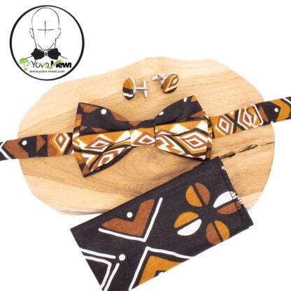 Coffret Nœud papillon wax bogolan + Pochette de costume+ boutons de manchette/ n°2