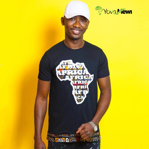 Tee-shirt  Afrique wax / coupe droite / tee-shirt Africa/ tissu Kenté Bogolan